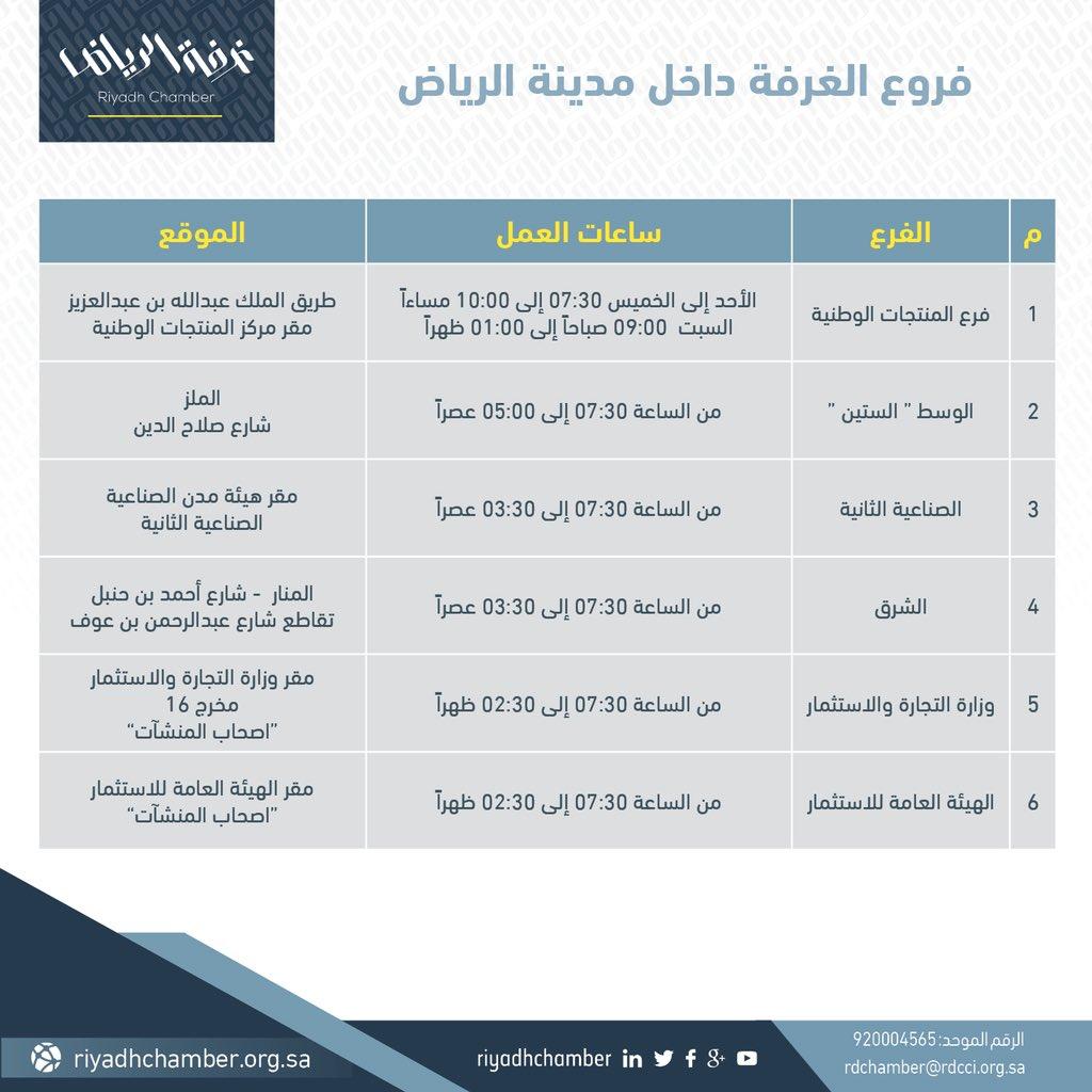 اغلاق فرع الغرفة غرب الرياض ومواعيد عمل الفروع الأخرى